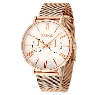 MANGO 完美夏日艷情腕錶-白x玫瑰金/38mm(贈皮革錶帶組)