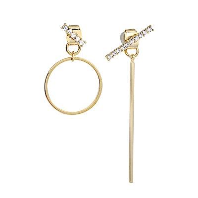 LOVERS TEMPO加拿大品牌 MATRIX不對稱幾何造型 施華洛世奇水晶 金色耳環