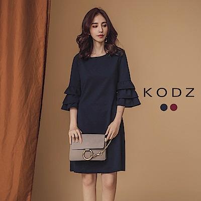 東京著衣-KODZ 優雅美人約會穿搭蛋糕袖洋裝-S.M.L(共二色)
