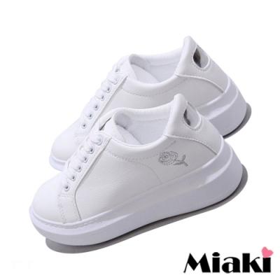 Miaki-小白鞋剌繡韓風厚底休閒鞋-銀