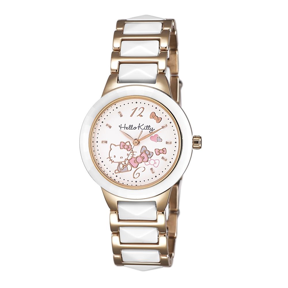 HELLO KITTY 凱蒂貓 甜美簡約陶瓷手錶-白x白玫瑰金/32mm