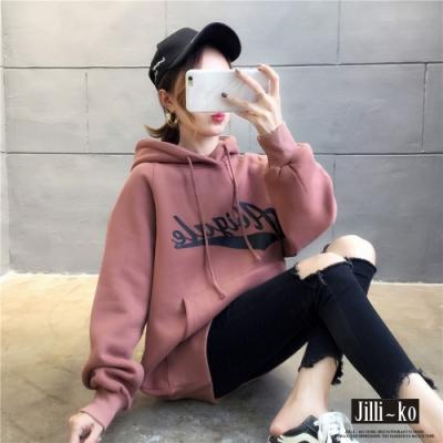 JILLI-KO 寬鬆男友風印花連帽T- 粉/卡