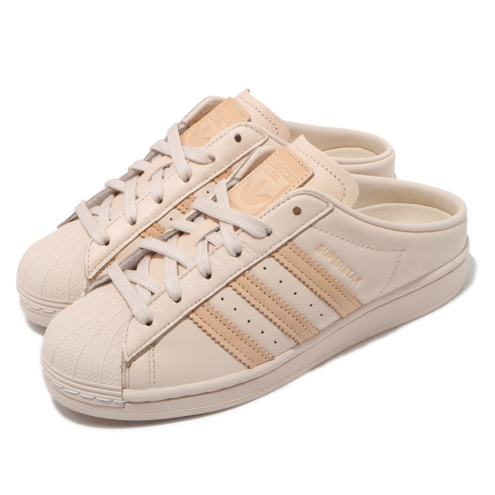 adidas 休閒鞋 Superstar Mule 女鞋 愛迪達 貝殼頭 半包拖鞋 套腳 穿搭 米白 G58357