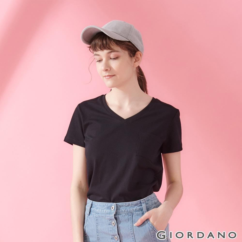 GIORDANO 女裝棉質素色V領口袋T恤-09 標誌黑