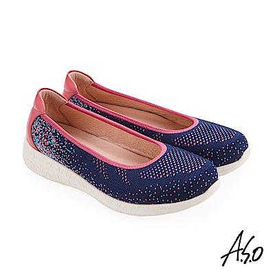 A.S.O 活力雙核心 透氣質感織布休閒鞋 黑