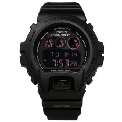 G-SHOCK CASIO卡西歐霧黑電子液晶計時防水橡膠手錶-黑色/48mm