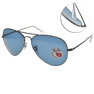 RAY BAN太陽眼鏡 偏光飛官太陽眼鏡/槍-藍偏光鏡片#RB3689 004S2-62mm