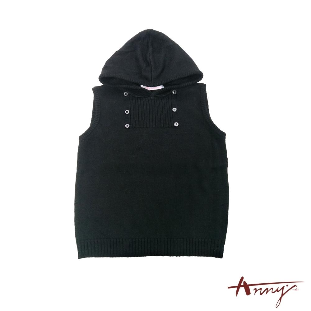 Annys連帽休閒舒適保暖鈕扣針織背心*0275黑