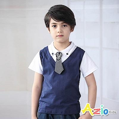 Azio Kids 上衣 條紋領帶假兩件拼接短袖上衣(深藍)