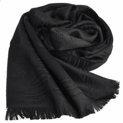 EMPORIO ARMANI 義大利製字母大老鷹LOGO圖騰羊毛圍巾(黑)