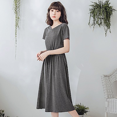 純色美背設計縮連袖縮腰洋裝-OB嚴選