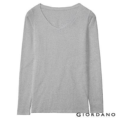 GIORDANO 女款Beau-warmer plus+彈力V領極暖衣-03 灰色