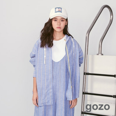 gozo 海洋風系列直條紋連帽襯衫(深藍)