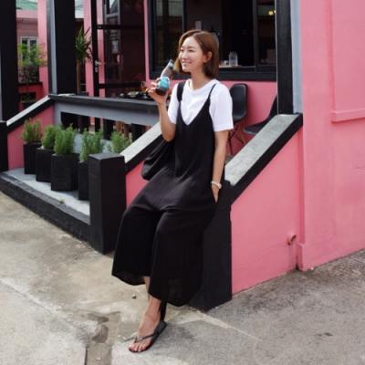 La BellezaV領吊帶側口袋棉質連身寬鬆吊帶褲闊腿褲