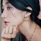 COR-DATE-垂吊珍珠小蜜蜂耳環