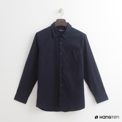 Hang Ten - 男裝 - 簡約素面棉質長袖襯衫 - 深藍