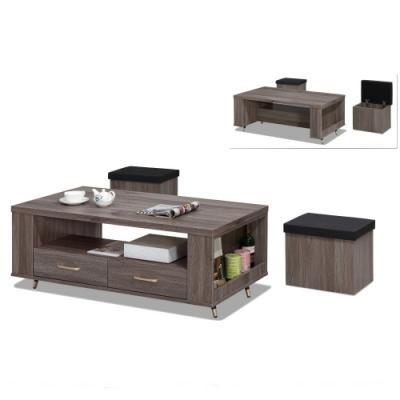 MUNA  貝克4尺灰橡色大茶几(含小凳子2只) 120X60X50.5cm