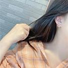 梨花HaNA 韓國美麗境界珍珠方框點鑽耳環