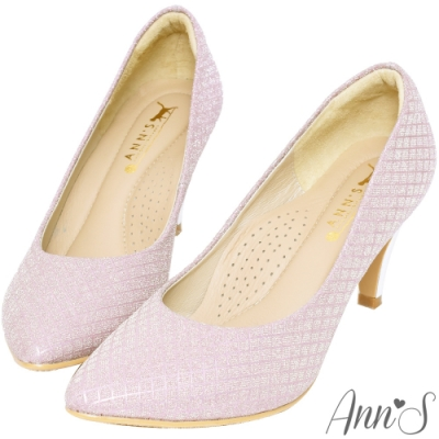Ann'S浪漫真諦-耀眼菱格紋電鍍鞋跟氣墊尖頭跟鞋-粉