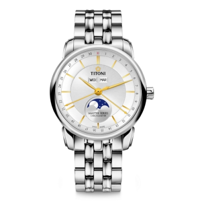 TITONI瑞士梅花錶 大師系列天文台認證月相錶(94588 S-635)-白/41mm
