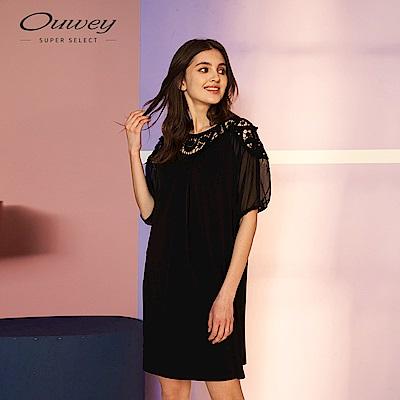 OUWEY歐薇 經典水溶蕾絲微透膚洋裝(黑)