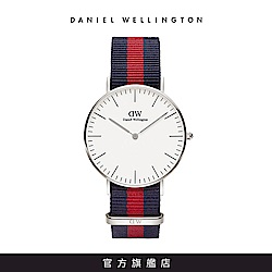 DW 手錶 官方旗艦店 36mm銀框 Classic 經典藍紅織紋錶