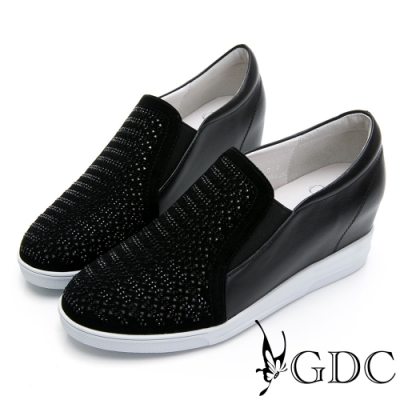 GDC-真皮沖孔金屬感水鑽內增高休閒鞋-黑色