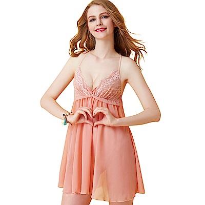 思薇爾 啵時尚系列蕾絲性感連身小夜衣(香檳粉)