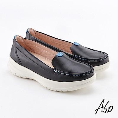 A.S.O  Q彈紓壓 全真皮奈米休閒鞋 黑