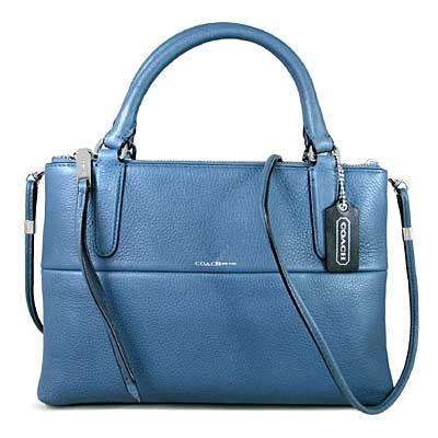 COACH BOROUGH限量款 鵝卵石紋全皮革三層兩用包(莫藍迪藍色)
