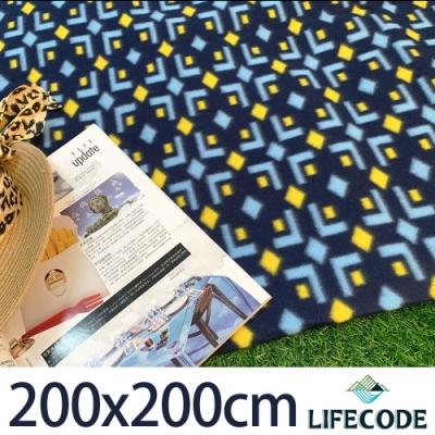 LIFECODE 菱格藍絨布防水野餐墊200x200cm