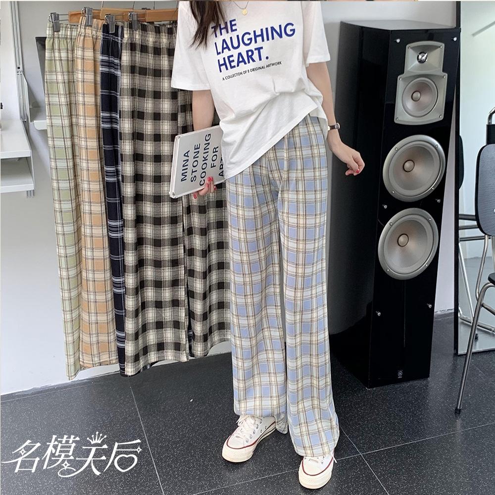 名模天后-簡約修身時尚格紋造型寬褲-2色(F)
