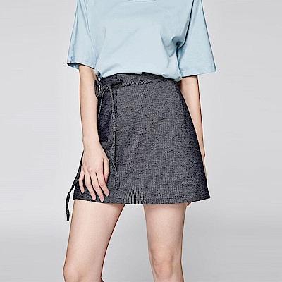 SUITANGTANG 綁帶直條紋短裙-藍