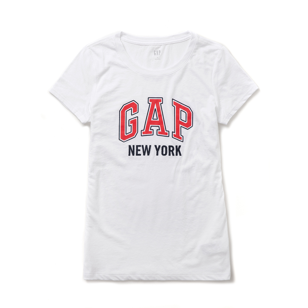 GAP 熱銷經典文字設計短袖T恤(女)-白色