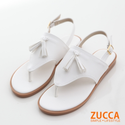 ZUCCA-流蘇皮革夾腳平底涼鞋-白-z6615we