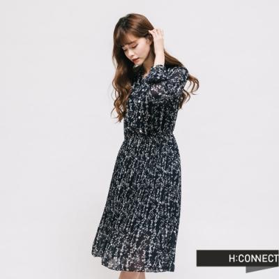 H:CONNECT 韓國品牌 女裝 - 印花百摺長洋裝 - 藍