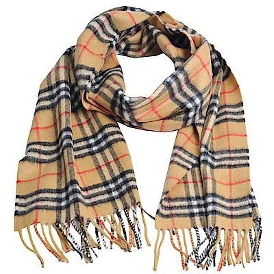 BURBERRY Vintage 經典格紋喀什米爾羊毛圍巾(古典黃/168x30)
