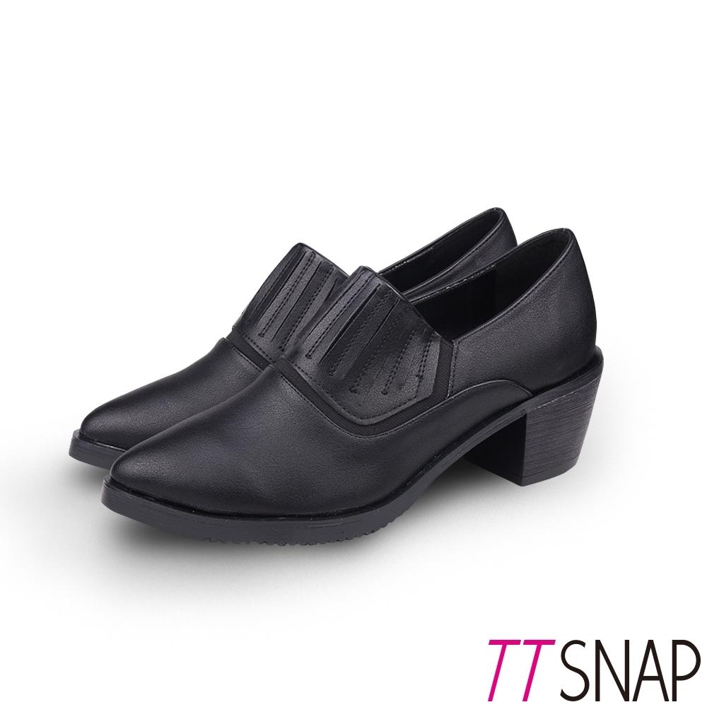 TTSNAP裸靴-簡約尖頭顯瘦靜音中跟鞋 黑