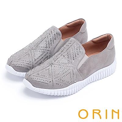 ORIN 時尚渡假風 幾何燙鑽厚底休閒鞋-灰色