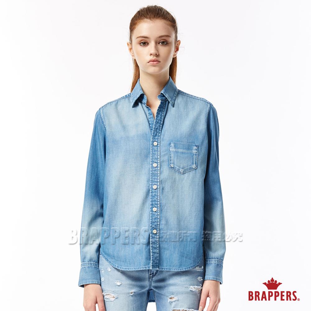 BRAPPERS 女款 前短後長牛仔襯衫-淺藍