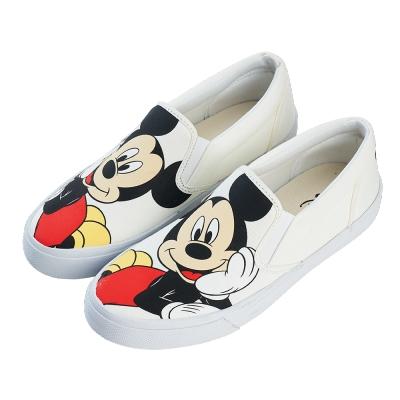 迪士尼親子鞋 米奇 經典大人休閒懶人鞋-白