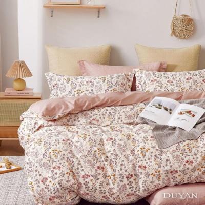DUYAN竹漾-100%精梳純棉-雙人四件式舖棉兩用被床包組-日和花雨 台灣製