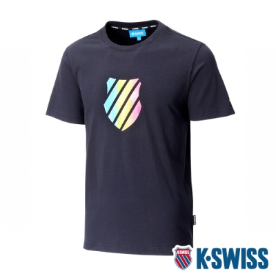 K-SWISS Neon Shield Logo Tee印花短袖T恤-男-黑