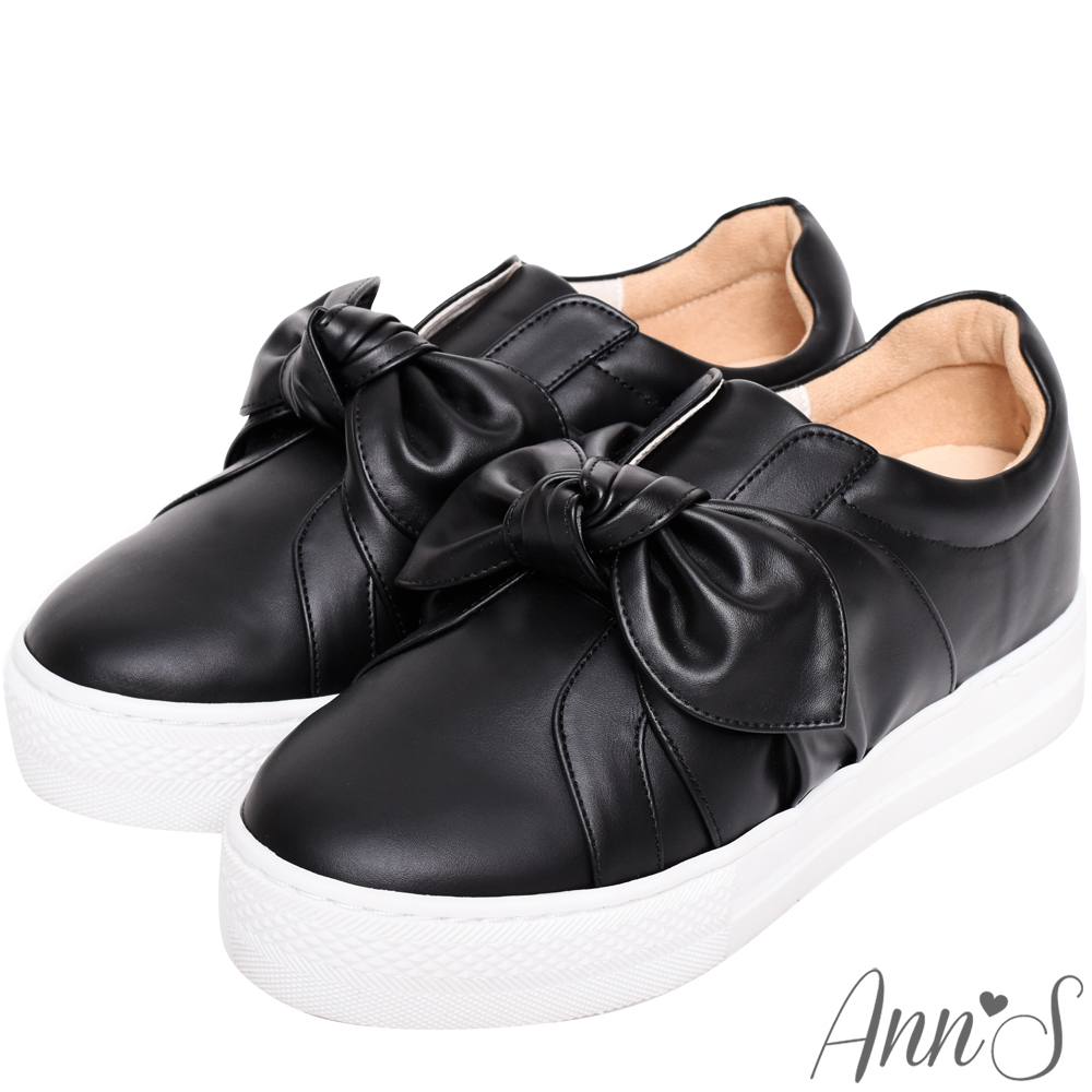 Ann'S可愛女人-蝴蝶結扭結內增高休閒懶人鞋-黑