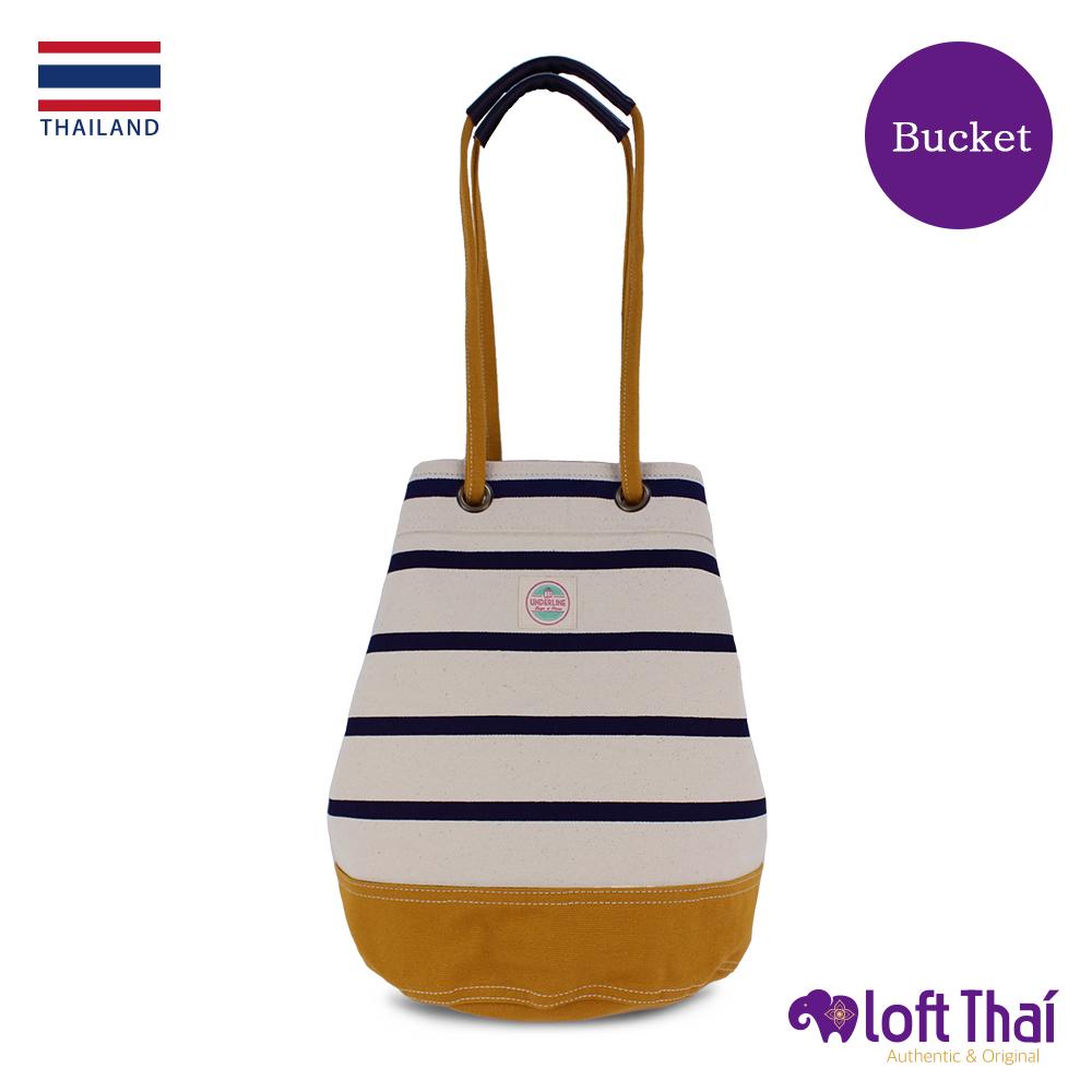 Loft THAI | 泰.兩用帆布水桶包(大) | Stripe/mustard @ Y!購物