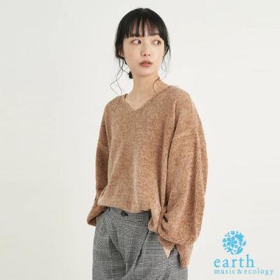 earth music 絲絨光澤感V領蓬袖針織衫