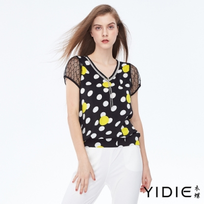 YIDIE衣蝶 V領流蘇雙色點點拼接網格上衣