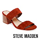 STEVE MADDEN-CATERINA真皮寬版二字帶涼跟鞋-絨咖