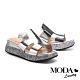 拖鞋 MODA Luxury 極簡純色簍空剪裁金蔥厚底拖鞋-銀 product thumbnail 1