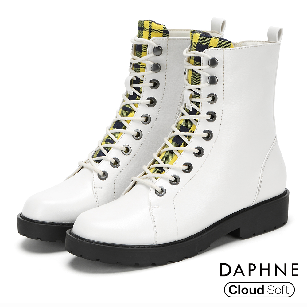 達芙妮DAPHNE 短靴-圓頭個性綁帶拼接格紋低跟短靴-白